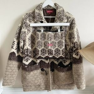 supreme snowflake teddy coat toggle buttons
